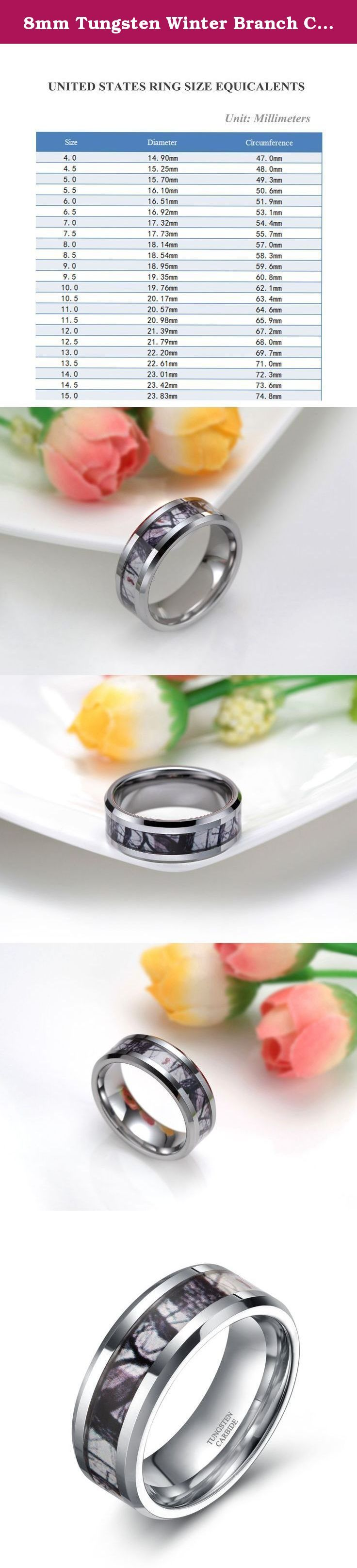 8mm Tungsten Winter Branch Camouflage Inlay Hunting Ring Wedding Engagement Band Comfort Fit Size 5-10(10). Why choose Frank S. Burton store to purchase? Reason.1: Amazon Authentication Brand;(Guaranteed Quality ) Reason.2: True & Pure Tungsten Material;(Scratch Proof & Hypoallergenic & Never Fade) Reason.3: Comfortable & Exquisite & Amazon Unique Design;(High Polish & Comfort Fit) Reason.4: Amazon Excellent and Fast Delivery;(Next,Second Day Delivery Option) Reason.5: Timely and 100%...