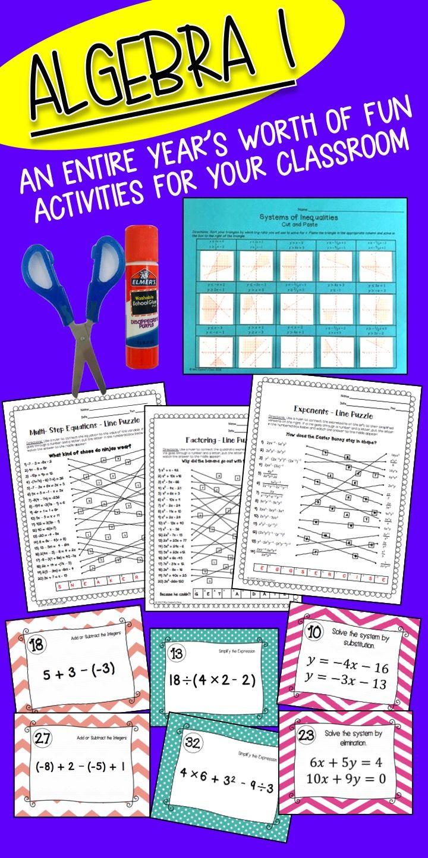 Algebra 1 Activity Bundle Of Activities For The Whole School Year Includes Algebra Activities Covering Topics Su School Algebra Algebra Math For Middle School