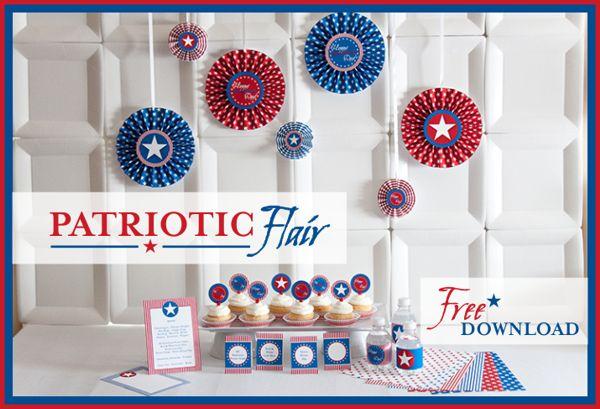 Free printables: Parties Printable, Banks Parties, Piggy Banks, Patriots Flair, July 4Th, Patriots Parties, Patriots Holidays, Free Printables, Free Downloads
