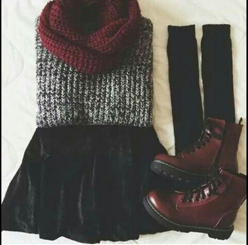burgundy combat boots outfits - Google Search || Perf for fall