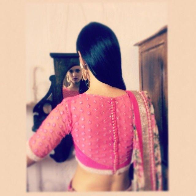 Chamee & Palak Sheer Pink #Blouse Back.