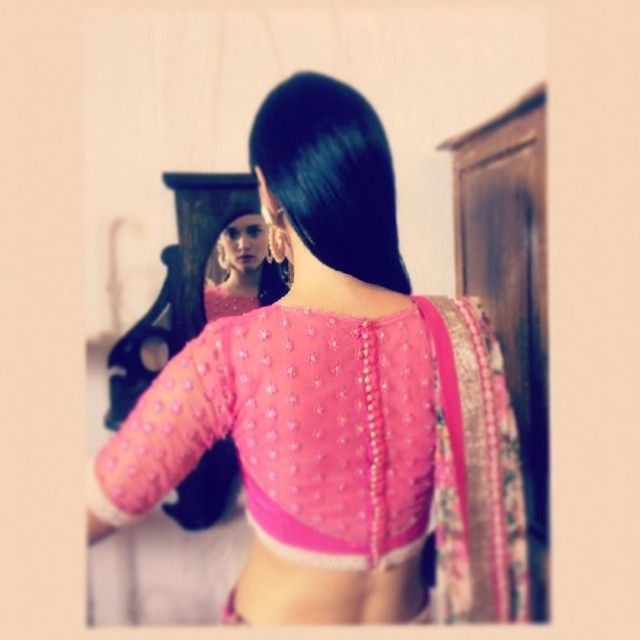 Chamee & Palak Sheer Pink #Blouse Back.