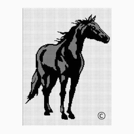 BLACK HORSE FULL BODY STALLION MARE CROCHET AFGHAN PATTERN GRAPH .PDF   CozyConcepts - Patterns on ArtFire