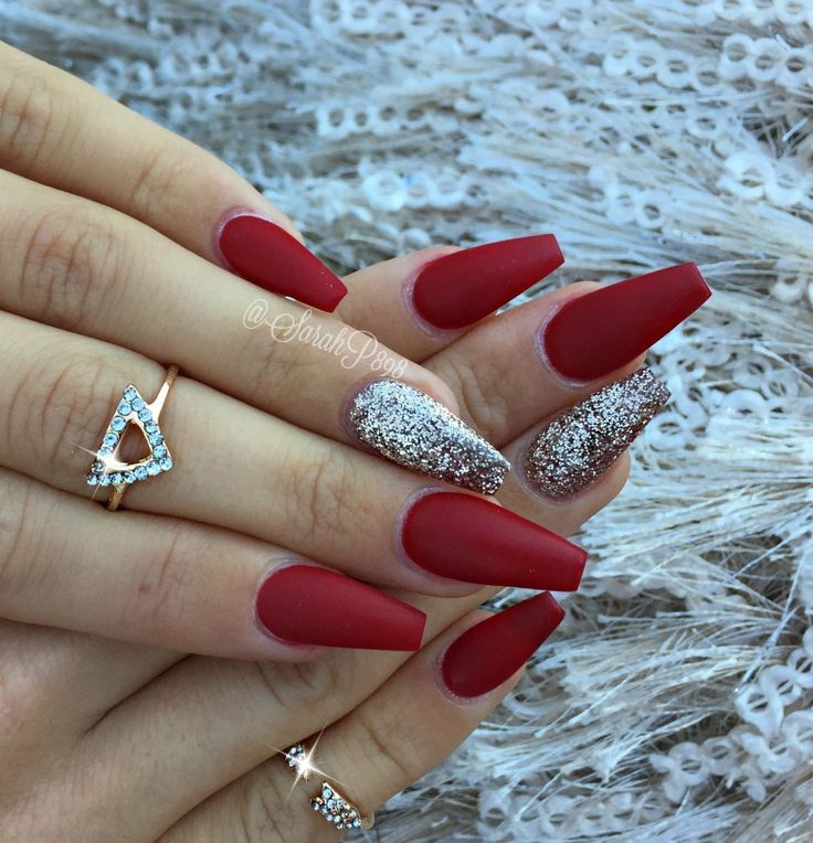 long red coffin nails / #newyearsnails #glamandglits by Sarahp898