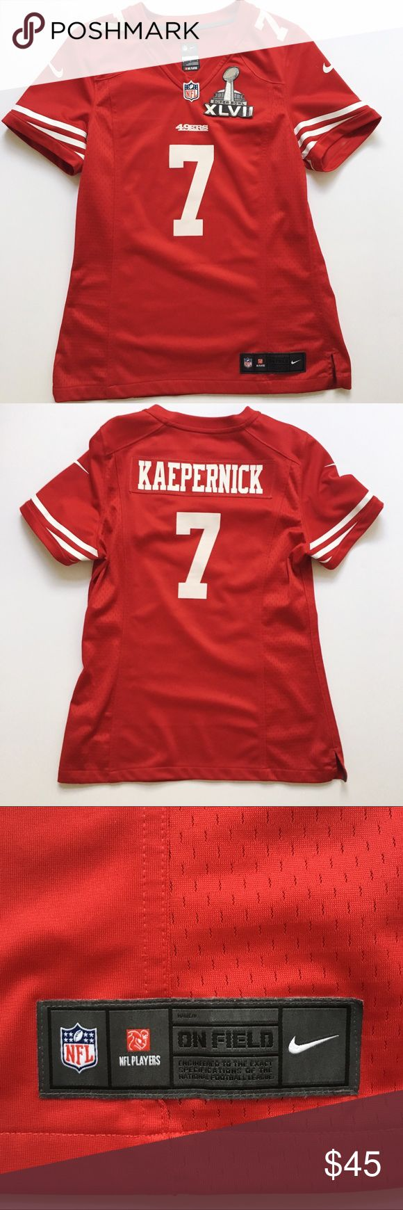 San Francisco 49ers Jersey Size Medium San Francisco 49ers Jersey Size Medium but fits more like a Small. Gently used. NFL Tops