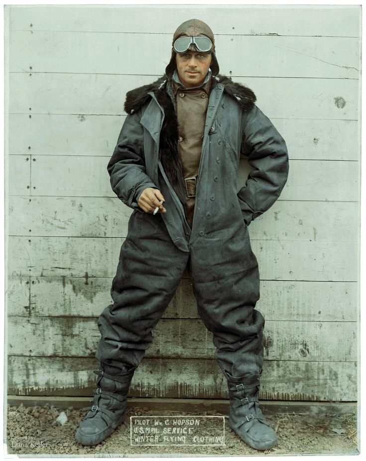 """Pilot William """"Wild Bill"""" Hopson, modeling U.S. Mail Service Winter Flying Clothing, ca. 1926 (colorized)"""