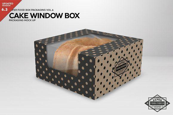 Download Cake Window Box Packaging Mockup Box Packaging Packaging Mockup Cake Boxes Packaging