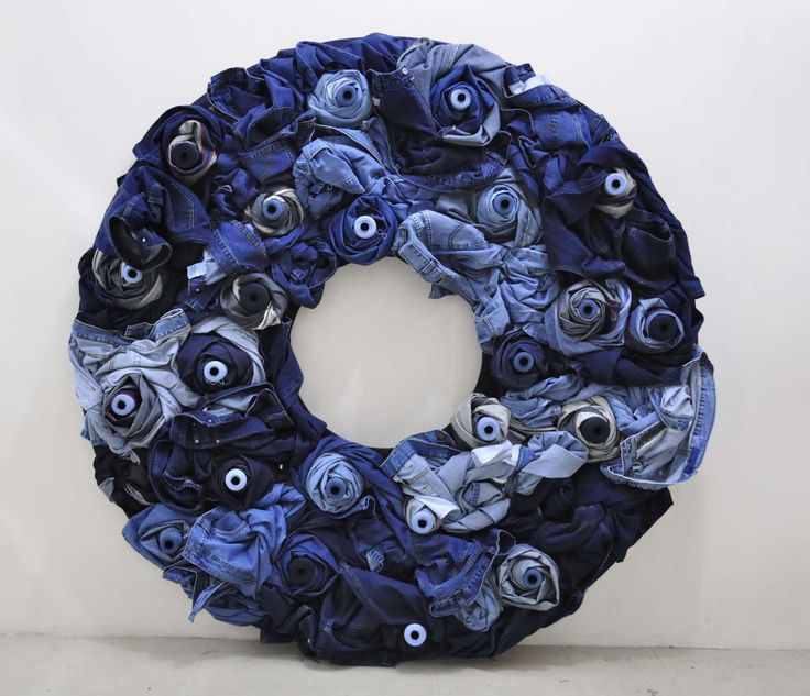 5ft Large Wreath made with Real Jeans rounded on Thread spools  for in shop display for an important client.