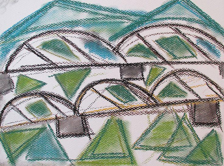 Rail bridge #art #pastels #drawing #rail #bridge #japan #travel
