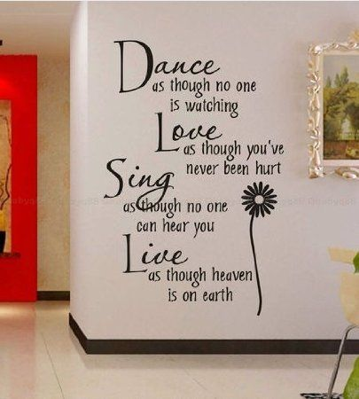Newsee Decals Hotportgift Dance love sing live Wall Quotes Decal Removable stickers decor Vinyl Art