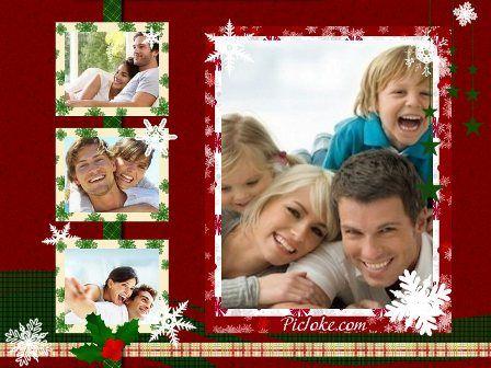 fotos montajes navidenos para  un cuadro de familia | un lindo cuadro cuadro famillar o de pareja adornado con unos copos de ...