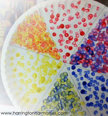 Puntillismo y mezcla de colores primarios para formar secundarios