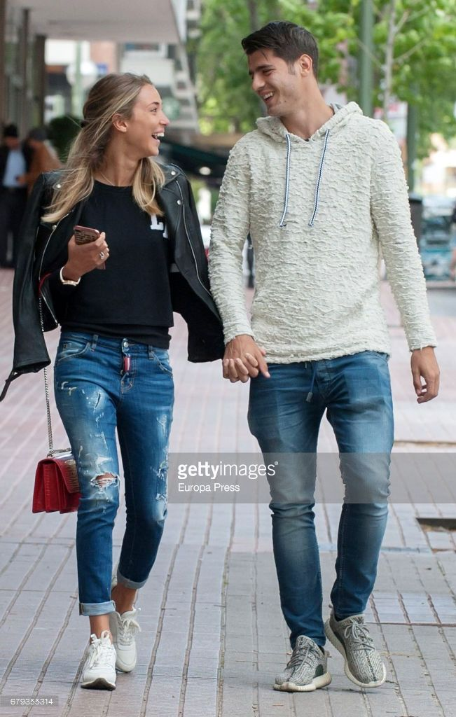 Real Madrid football player Alvaro Morata and his girlfriend Alice Campello are seen leaving a restaurant on April 20, 2017 in Madrid, Spain.