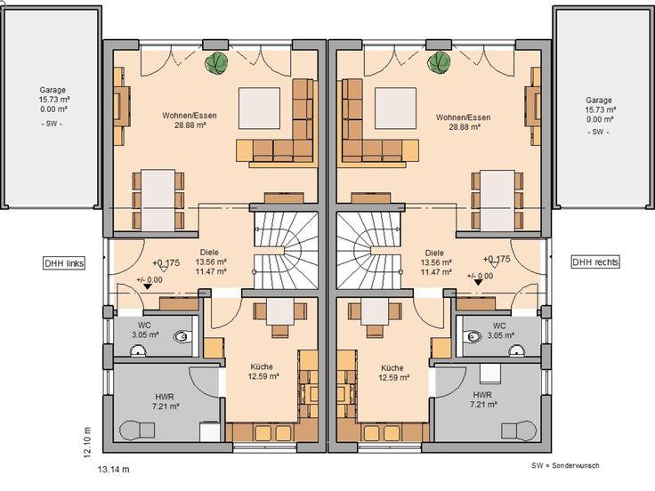 Doppelhäuser in 2020 Haus grundriss, Haus und Doppelhaus