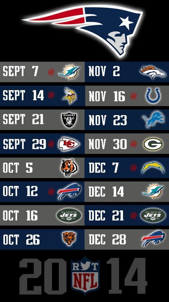 New England Patriots 2014 schedule
