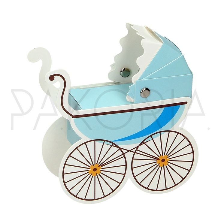 Pudełko WÓZEK DZIECIĘCY niebieski. Idealne na chrzest, roczek, baby shower, gender party, kinder party. Inspiracje. pakoria.pl Inspiration, blue cute baby carriage.