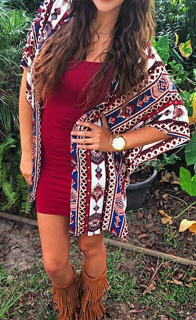 tribal Aztec kimono with body con dress and tan fringe boots