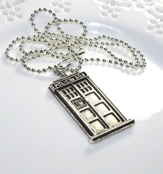 Doctor Who Tardis Police Box Necklace  Unisex Mens or by CUDAGE, $14.00-Chelsea or Austin: But, Necklace Police, Boxes, Necklaces, Dr. Who, Doctor Who Necklace