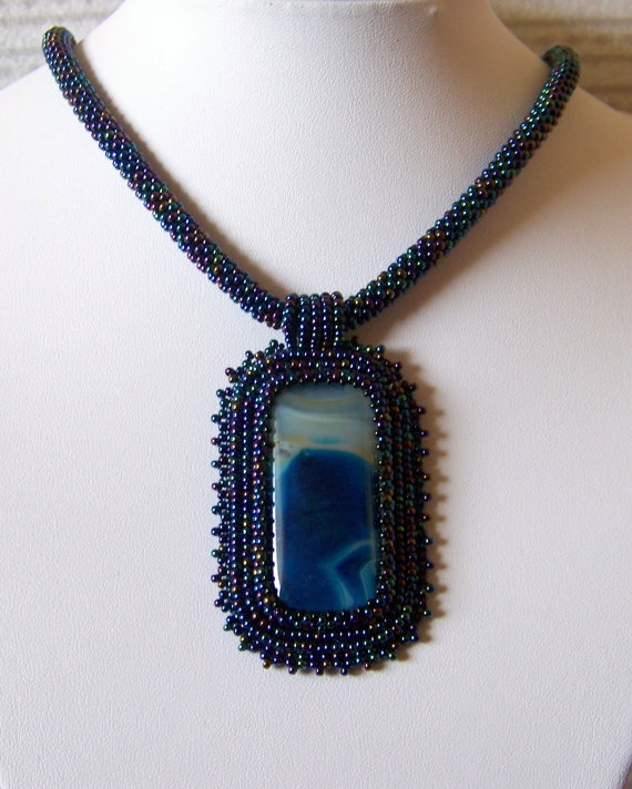 Jupiter  Bead Embroidery Necklace with Blue Agate by lutita, $80.00