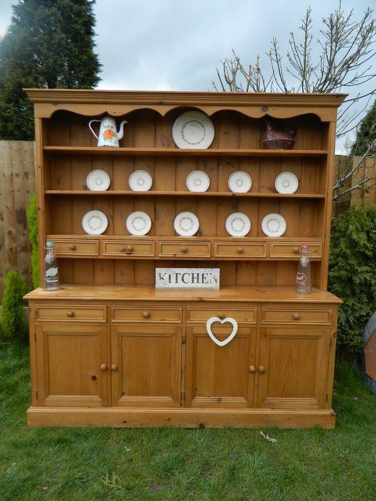 Shabby Stunning Pine Farmhouse Welsh Dresser Storage Display Cabinet