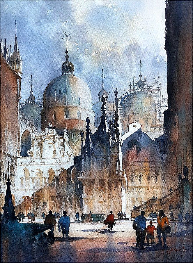 Light In The Courtyard Venice By Thomas W Schaller Watercolor