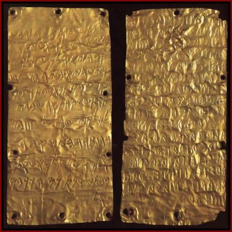 The Pyrgi Gold Tablets show how the Phoenician alphabet and Etruscan alphabet were used in actual practice. These inscriptions date from approximately 500 BC. They were found in a temple near ancient Caere in Italy, and describe a dedication made to the Phoenician goddess.
