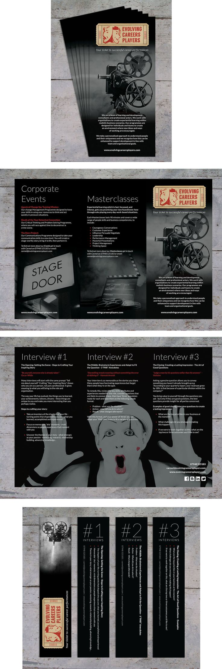 Evolving Careers Players - A4 folded to DL leaflet and bookmarks.