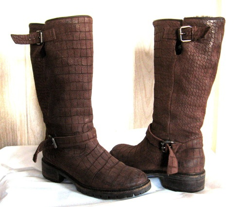 Fendi Brown Gator Print Leather Rabbit Lined Heavy Rubber Sole Boots 38 | eBay