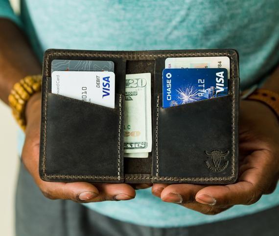 Mens Slim Front Pocket Wallet. Personalized Bifold Cards Wallet. Slim Credit Card holder. Mens card wallet. Monogrammed Groomsmen Gift