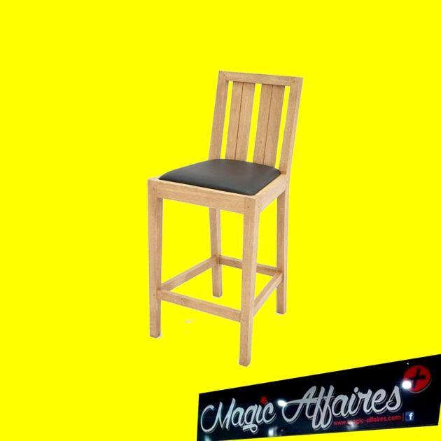 LOT DE 2 Chaise haute bar bois hévéa et simili cuir ATTAN NEUF - MAISON MOBILIER BRICOLAGE EQUIPEMENT/AMEUBLEMENT - magic-affaires-22