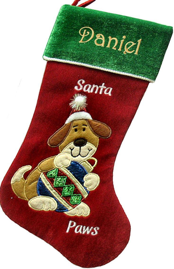 Personalized dog christmas stocking dogs pinterest for Personalized dog christmas stocking