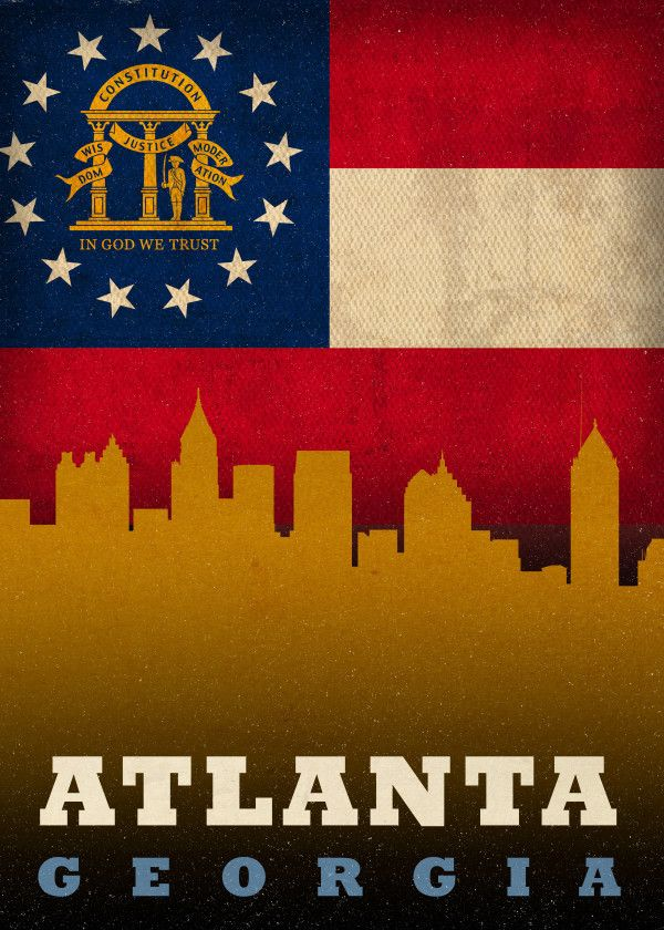 Atlanta Georgia City Skyline S Metal Poster Print Design Turnpike Displate In 2020 City Skyline Atlanta Georgia Georgia Flag