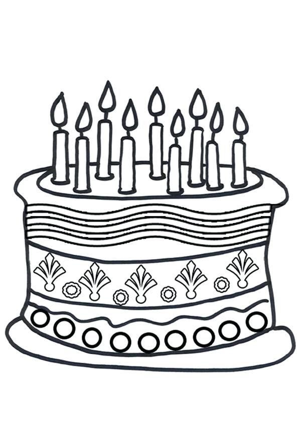 cake coloring pictures free online birthday cake colouring ...