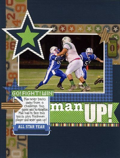 Man Up Layout by Laina Lamb using Jillibean Soup's Game Day Chili papers and pea pod parts, Watermelon Gazpacho papers, white corrugated sheets and alphas, and Hearty Barley stickers (via the Jillibean Soup blog).