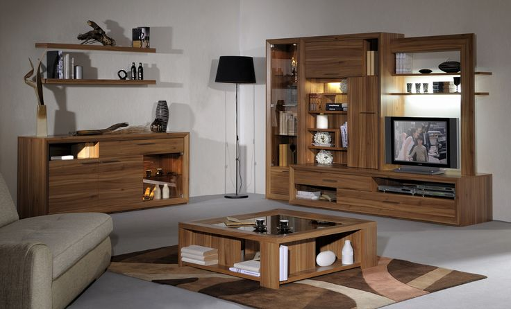 Simple Style Living Room Decoration With Wood Storage Drawers And Shelves Wall Units Idea And