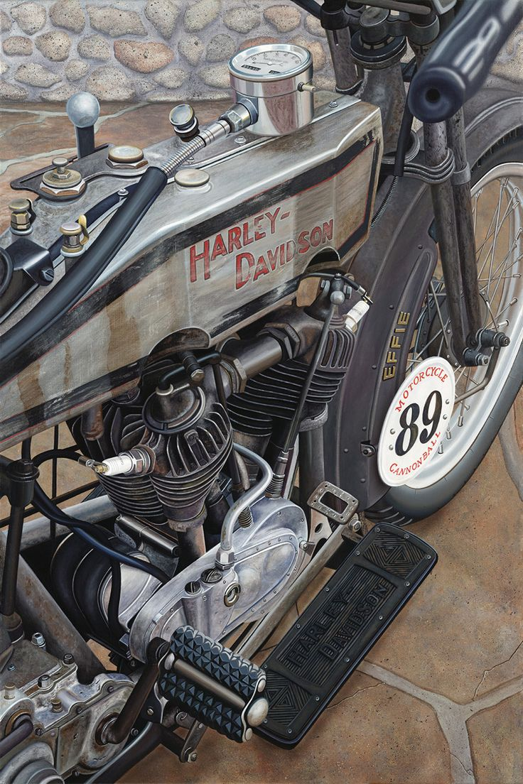 """Effie"" by Scott Jacobs  This is a 1915 Harley-Davidson owned by Pat Simmons, of The Doobie Brothers.  His wife, Cris rode her across the country in 2010 in the Motorcycle Cannonball Run!"
