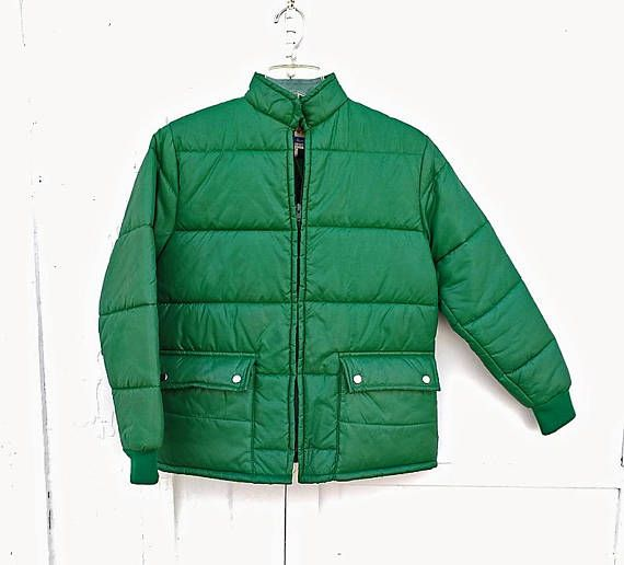 70's Green Puffer Jacket Curly Top Size Small Light Weight