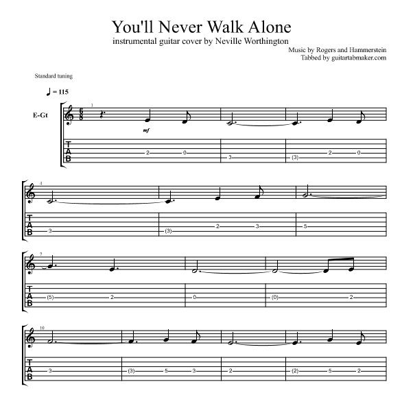 """You'll Never Walk Alone instrumental guitar TAB click """"VISIT"""" to get the complete tab"""