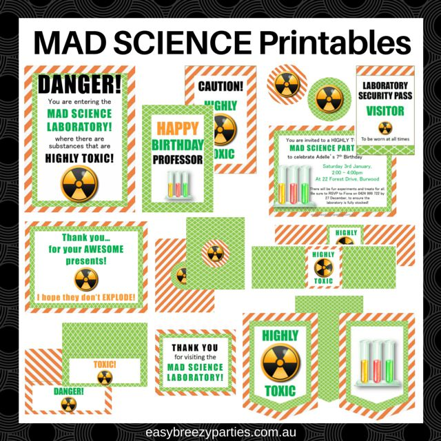 Science party printables - laboratory ID, poster, personalized invite, bunting, chocolate wrappers, food tents and more. #easybreezyparties #scienceparty