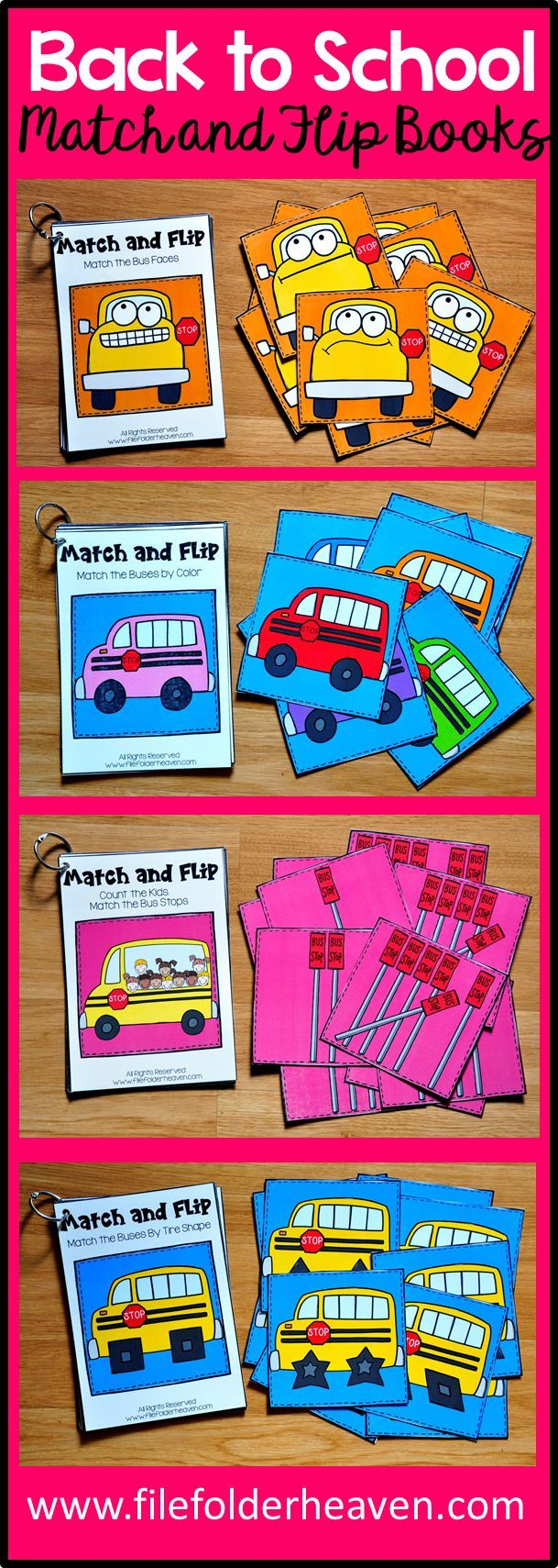 These  Back to School Match and Flip Books focus on basic matching skills. In these activities, students work on matching picture to picture (or by shape), matching by color, matching by counting.  There are four Match and Flip Books included in this download.  Match the Buses by Color  Match the Number of Kids to Their Bus Stops  Match the Bus Faces  Match the Buses by Tire Shape