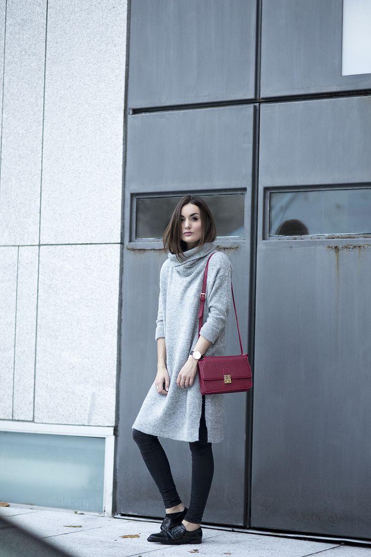 Little Red Bag. + Loooove the grey dress!!!