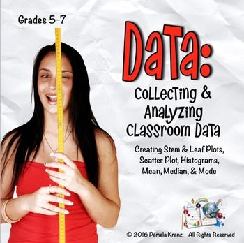 Using measurements generated by your students to build scatter plots, stem & leaf plots, and histograms is a terrific way to bring data to life. With more than a dozen activities and extensions, this is a resource that keeps on giving - from the initial measurements of height, wingspans, and footprints, to the final student observations and discussions. These activities work well for