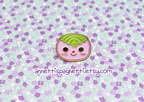 This happy sakura mochi pin is an original artist product that would make a great companion to any of your accessories! This is an original, fun gift for any food/ Japanese culture enthusiast!  They can be used to decorate your jacket, camera bag, backpack, etc! :)    ☆☆☆ ITEM INFO ☆☆☆  ★ This listing is for ONE sakura mochi soft enamel (metal) pin  ★ sakura mochi pins are about 1.25 inches wide  ★ Please refrain from treating this item roughly to avoid tears/scratches/fading. ...