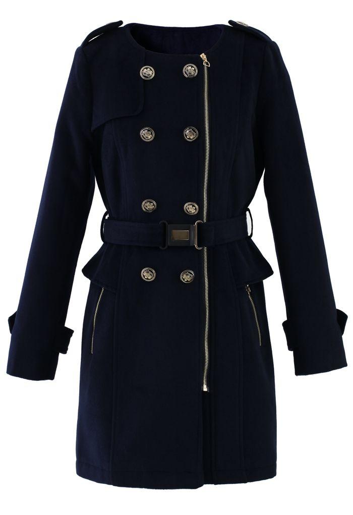 Navy Blue Peplum Wool-blend Coat with Belt// Gorgeous!