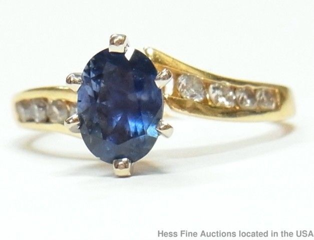 Natural Sapphire Diamond 14k Gold Ring Solitaire w/ Channel Set Accents Sz 5.75	 #SolitairewithAccents