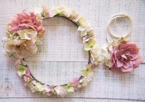 ローズ&あじさいの花びらと小花の花冠&リストレット2点SET - 大人可愛い花冠 ブライダル・ウェディング 【アルモニ】