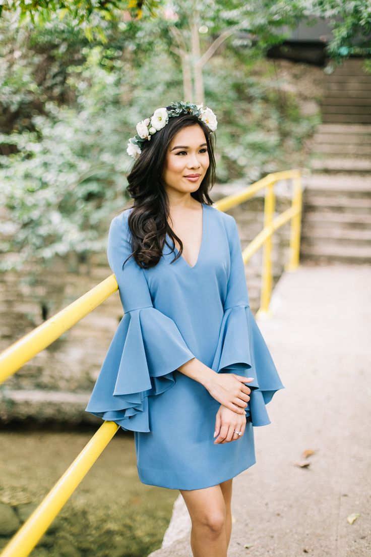 Bell sleeve dress perfect for weddings!