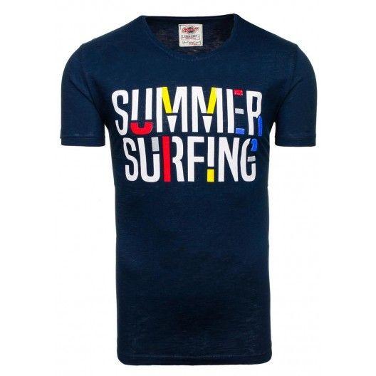 Moderné pánske tričko tmavomodrej farby s nápisom summer surfing - fashionday.eu