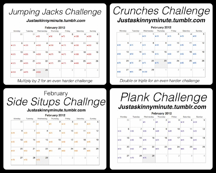 Jumping Jacks, Crunches, Side Situps, and Plank Challenge