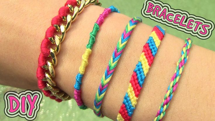 DIY Friendship Bracelets. 5 Easy DIY Bracelet Projects! Learn how to make easy, but adorable bracelets. All you need is some string (thread or nylon cord) and a button for the closure. If you decide to make the last bracelet in this DIY tutorial, you'll also need some chain and a clasp. Happy knotting!